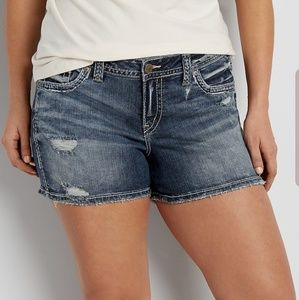Silver Aiko Plus Size Denim Distressed Shorts.